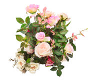 Konstgjord bruk f för bakgrund för rosblommor bukett isolerat vitt Royaltyfri Bild