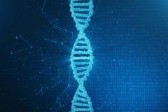 Konstgjord intelegenceDNAmolekyl DNA:t konverteras in i en binär kod Genom för binär kod för begrepp abstrakt teknologi royaltyfri illustrationer