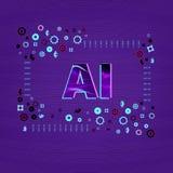 konstgjord intelligens Ai-bokstäver också vektor för coreldrawillustration royaltyfri illustrationer