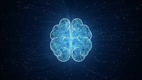 Konstgjord intelligens Brain Animation, Big Data fl?desanalys, djupa l?rande moderna teknologibegrepp Nerv- anslutning Visu royaltyfri illustrationer