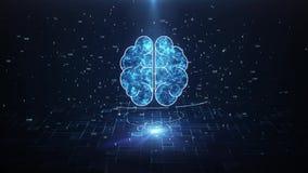 Konstgjord intelligens Brain Animation, Big Data fl?desanalys, djupa l?rande moderna teknologibegrepp royaltyfri illustrationer