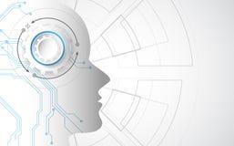 konstgjord intelligens Digital teknologi för AI i framtid Faktiskt begrepp leaves för illustration för bakgrundsblommor mjölkar n royaltyfri illustrationer