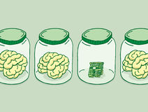 Konstgjord intelligens eller digital hjärna royaltyfri illustrationer