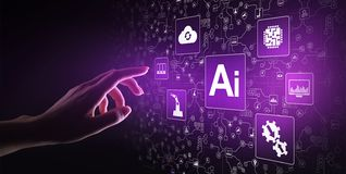 Konstgjord intelligens för AI, lära för maskin, stor dataanalys och automationteknologi i affär arkivbilder
