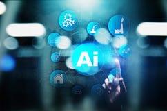 Konstgjord intelligens för AI, lära för maskin, stor dataanalys och automationteknologi i affär fotografering för bildbyråer