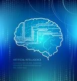 Konstgjord intelligens, hjärna och strömkretsar Royaltyfria Bilder