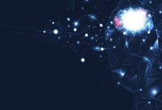 Konstgjord intelligens, hjärnrobotkontroll, digital futuristics, nervnätverk med abstrakt bakgrund för strömkretsperspektiv stock illustrationer