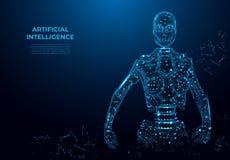Konstgjord intelligens i virtuell verklighet, robot Vektorwireframebegrepp Polygonal bild för vektor, ingreppskonst stock illustrationer