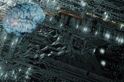 Konstgjord intelligens, kommunikation och futuristiskt Arkivfoto