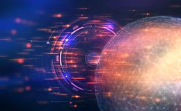 konstgjord intelligens Kontroll över det globala nätverket illustration 3D på en futuristisk bakgrund vektor illustrationer