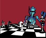 konstgjord intelligens Roboten spelar schack stock illustrationer