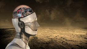 Konstgjord intelligens, robothjärna, teknologi stock illustrationer