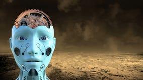 Konstgjord intelligens, robothjärna, teknologi royaltyfri illustrationer