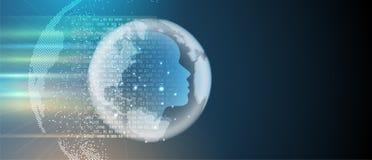 konstgjord intelligens Teknologirengöringsdukbakgrund Faktiskt conc royaltyfri illustrationer