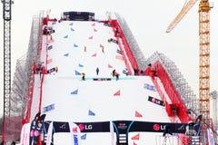 Konstgjord mound (50 mäter), för Snowboardvärldscup Fotografering för Bildbyråer