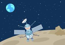 Konstgjord satellit-droid på månen Royaltyfri Foto