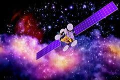 Konstgjord satellit mot nebulosas bakgrund Fotografering för Bildbyråer