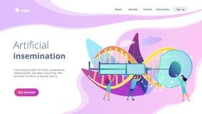 Konstgjord sida för reproduktionsbegreppslandning stock illustrationer