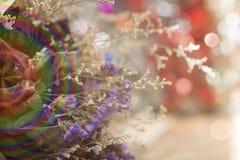 Konstgjorda blommor i signaler och suddighet för mjukt ljus Arkivfoton