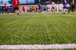 Konstgjorda gräsfält för fotboll Arkivbilder