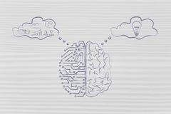 Konstgjorda strömkretsar och mänsklig hjärna med tankebubblor stock illustrationer
