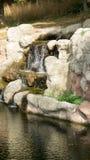 Konstgjorda vattenfall i zoo Arkivbilder