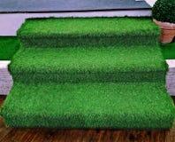 Konstgjort gräs för trappuppgång arkivbilder
