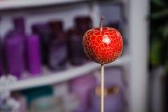 Konstgjort rött äpple på en pinne lägenhetdekor Royaltyfria Bilder