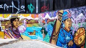 Konstgrafitti i Valparaiso, Chile Fotografering för Bildbyråer