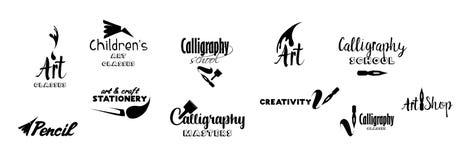 Konstgrupper som märker logodesignuppsättningen vektor illustrationer