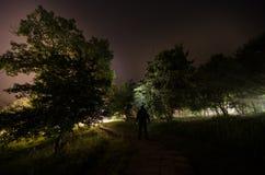 Konstig kontur i en mörk spöklik skog på natten, overkliga ljus för mystiskt landskap med den kusliga mannen royaltyfri foto