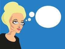 Konstig seende kvinna med komiska bubblor royaltyfri bild