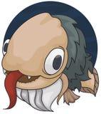 Konstig skäggig fisk med den håriga kroppen och den stora tungan, vektorillustration vektor illustrationer