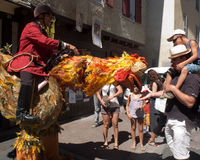 Konstig stor hane i gatan. Royaltyfri Fotografi