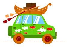 konstiga roliga Land Rover royaltyfri illustrationer