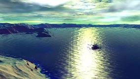 Konstigare planet Rocks och lake djur 4К stock illustrationer