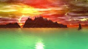 Konstigare planet Rocks och lake djur 4К royaltyfri illustrationer