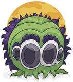 Konstigt Cephalopodmonster med fyra ögon och purpurfärgat hår, vektorillustration stock illustrationer