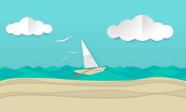 Konstillustration för pappers- hantverk av ett segelbåtskepp som seglar vågorna stock illustrationer