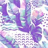 Konstillustrationen med tropiska sidor, klottret, grungetexturer, geometriska former i vanilj färgar vektor illustrationer