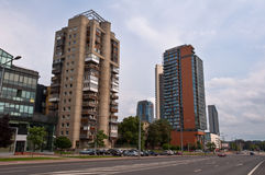 Konstitucijos avenue in Vilnius City with old and new buildings Royalty Free Stock Photography