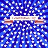 Konstitutiondag i Förenta staterna 17 september Blåa strålar, vita stjärnor, band med namnet av händelsen Arkivbilder