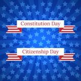 Konstitutiondag och medborgarskapdag i Förenta staterna 17 september Blåa strålar från mitten, blåa stjärnor, band med namnet Arkivfoto