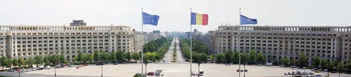 Konstitutionfyrkant, Bucharest - flyg- sikt Arkivfoton