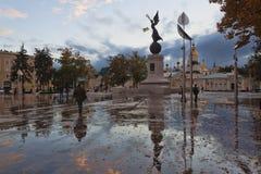 Konstitutionfyrkant - en av de äldsta fyrkanterna i Kharkiv Royaltyfria Foton