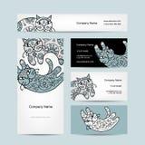 Konstkatter med den blom- prydnaden vektor för stil för logo för illustration för affärskort corporative Arkivbild