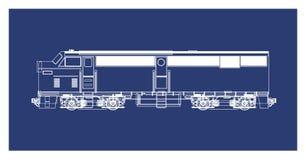 Konstlokomotiv för blått tryck stock illustrationer
