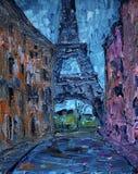 Konstmålning av den Paris gatan med Eiffeltorn royaltyfria foton
