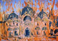 Konstmålning av den San Marco fyrkanten och kyrkan i Venedig, Italien royaltyfria bilder