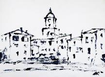 Konstmålning av Stet Tropez royaltyfri foto